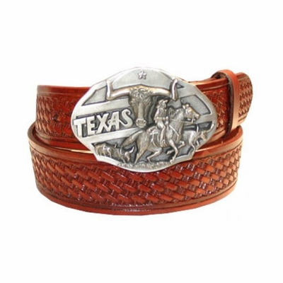 "2575 Western Full Grain Basket-weave Embossed Belt - 1 1/2"" wide"
