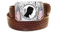 "2579 POW-MIA Basket-weave Embossed Full Grain Leather Belt - 1 1/2"" wide"