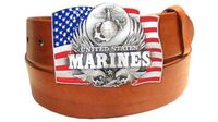 "2580 MARINES Trophy Buckle 1 1/2"" Full Grain Leather Belt"