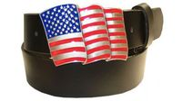 "2581 U.S FLAG Buckle Full Grain Leather Belt - 1 1/2"" wide"