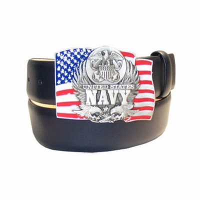 "2583 NAVY Buckle Full Grain Leather Dress Belt - 1 1/2"" wide"