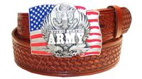"""2584 ARMY - Basket-weave tooled leather Belt - 1 1/2"""" wide"""