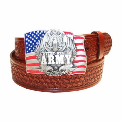 "2584 ARMY - Basket-weave tooled leather Belt - 1 1/2"" wide"