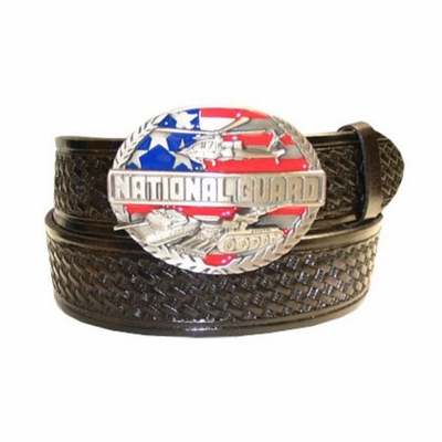 "2585 NATIONAL GUARD - Basket-weave tooled leather belt - 1 1/2"" wide"
