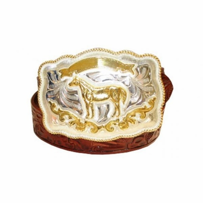 """2592 Alpaca Buckle - Floral Tolled Leather Belt -  1 1/2"""" wide"""