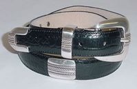 "26 Italian Calfskin Alligator Embossed Dress and Golf  Leather Belt - 1"" wide"