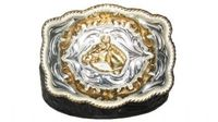 "2667 Alpaca - Floral Embossed Leather Belt - 1 1/2"" wide"