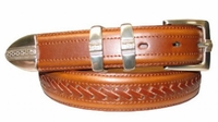 "2685 Overlap Lacing Leather Dress Belt - 1 1/8"" wide"