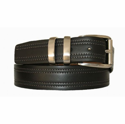 "2725 Double Stitched Roller Buckle Dress Belt - 1 3/8"" wide"