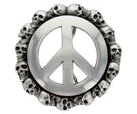 HA1602 Peace Sign Skull Belt Buckle Belt Buckle
