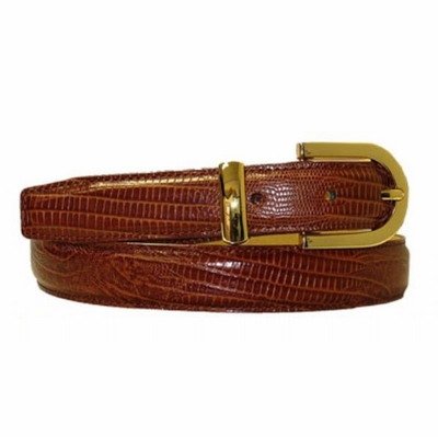 "2899 Lizard Embossed Leather Belt - 1"" wide"