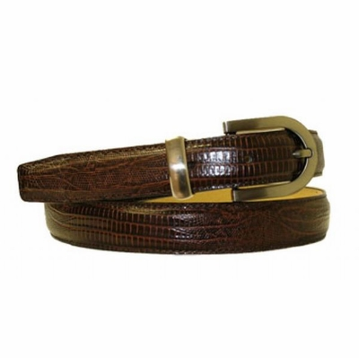 "2902 Lizard Embossed Leather Belt - 1"" wide"