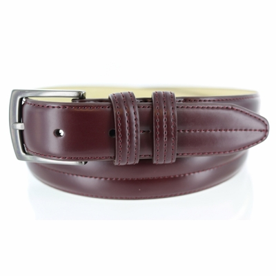 2924 Men's Center Stitched Leather  Dress Belt -1 1/8""