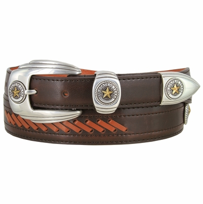 NEW!! 2925 State of Texas Seal Western Cowboy Dress Belt - BROWN/TAN
