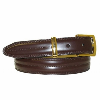 "2946 Stitched Center Leather Belt - 1 1/8"" wide"