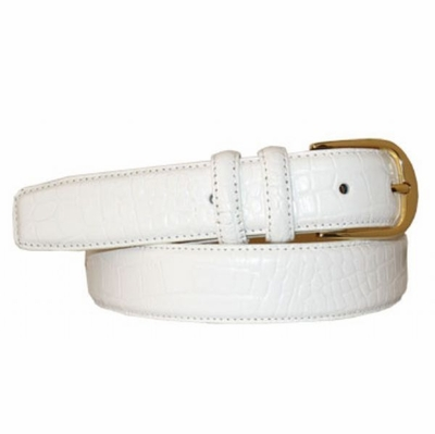 """2978XL Calfskin Embossed Leather Dress Belt with Gold Plated Round Buckle - 1 1/4"""" wide"""