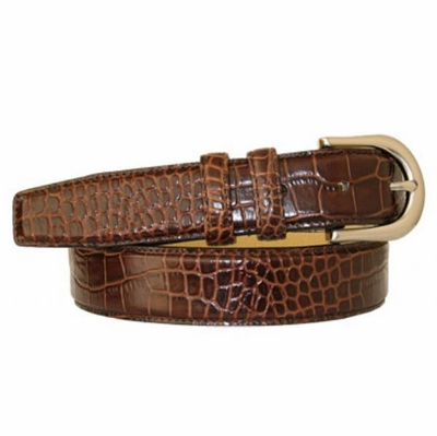 "2979 Italian Calfskin Embossed Leather Dress Belt - 1 1/8"" wide"