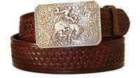 "3022 Rodeo Basket-weave Embossed Casual Western Belt - 1 1/2"" wide"