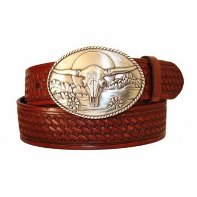 "3024 Old Western Basket-weave Embossed Leather Belt - 1 1/2"" wide"