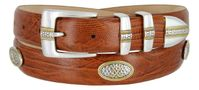 "3030 Men's Calfskin Leather Golf Conchos Belt - 1 1/8"" wide"