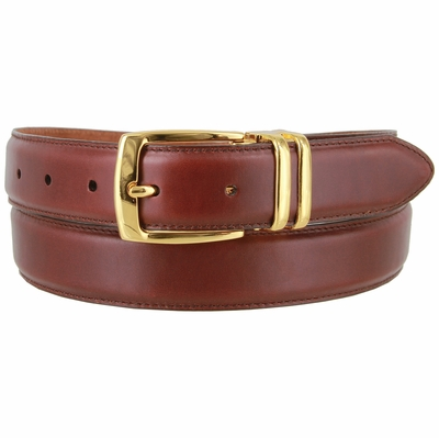 "3076 Genuine Everyday Clerical Leather Belt with Gold Buckle 1-1/8"" wide"