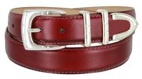"30MM-1107SP Men's Genuine Smooth Leather Casual Dress Belt 1-1/8"" (30mm) - Burgundy"