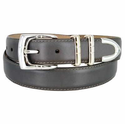 "30MM-1107SP Men's Genuine Smooth Leather Casual Dress Belt 1-1/8"" (30mm) - Gray"