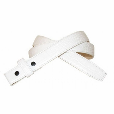 3124 Alligator White Embossed Leather Dress Belt Strap - NO HOLES - Perfect for Compression or Slide Buckles