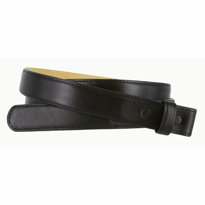 "3126 Smooth Leather Belt Strap with No Holes 1"" Wide - Black"