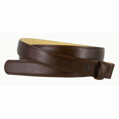 "3126 Smooth Leather Belt Strap with NO HOLES 1"" Wide - Brown"