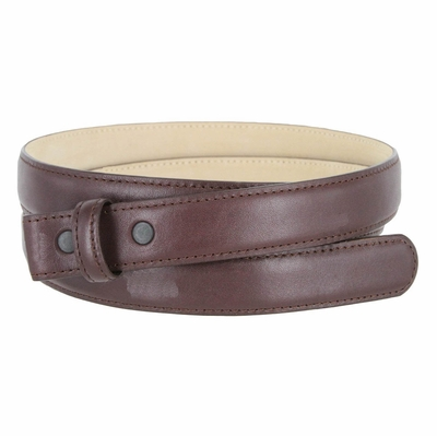 "3126 Smooth Leather Belt Strap with No Holes 1"" Wide - Burgundy"