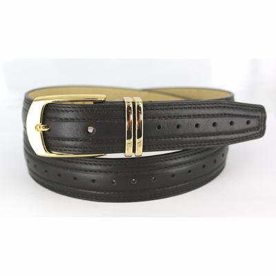 "3136 Perforated Twin Loop Genuine Leather Dress Belt - 1 1/8"" wide"