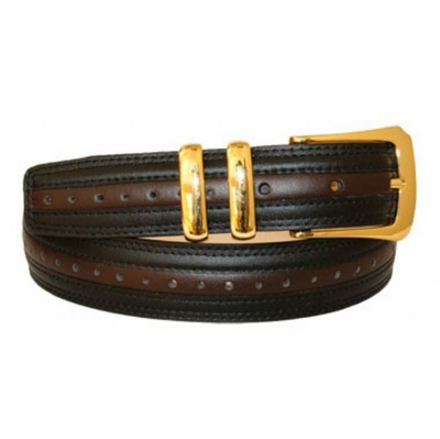 "3138 Perforated Leather Dress Belt - 1 1/8"" wide Black/Brown"