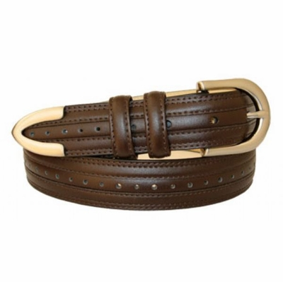 "3143 Perforated Leather Dress Belt - 1 1/8"" wide BROWN"