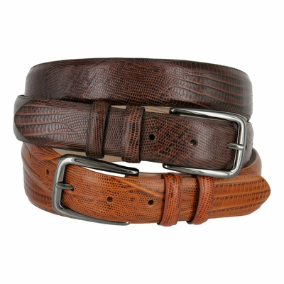 "3201XL Gun Buckle Genuine Italian Calfskin Leather Dress Belt - 1 1/8"" Wide"