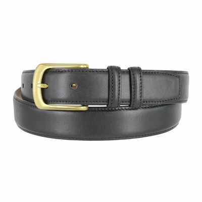 "3203 Dress Calfskin Leather Belt Brass Buckle  - 1 1/4"" wide"