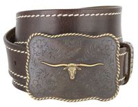 NEW!!! 8143 Cowboy Western Longhorn Leather Belt - 1 1/2 Wide