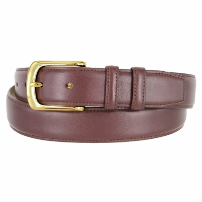 3208 Men's Smooth Calfskin Leather Dress Belt Gold Buckle  - 1 1/4""
