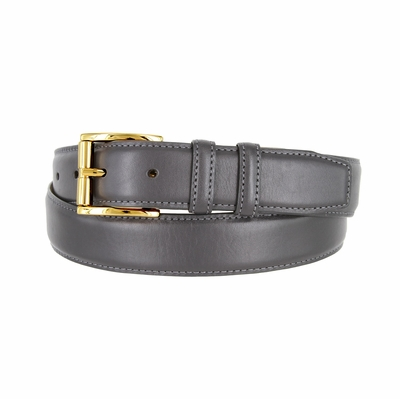 "3213 Gold Roller Calfskin Leather Dress Belt - 1 1/4"" wide CHARCOAL-GRAY"