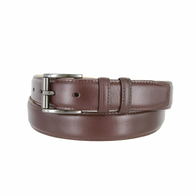 "3215 Men's Roller Calfskin Leather Dress Belt - 1 1/4"" wide BROWN"