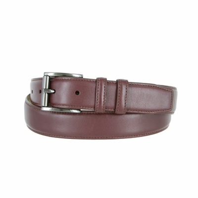 "3215 Men's Roller Calfskin Leather Dress Belt - 1 1/4"" wide BURGUNDY"