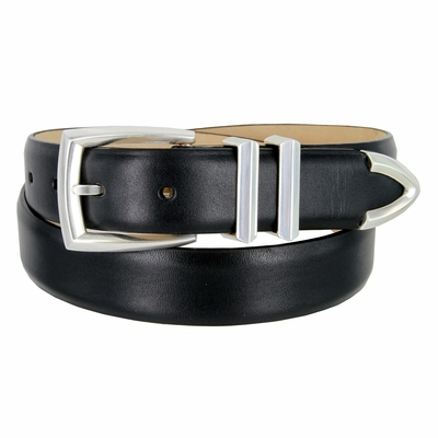 "3219 Men's Genuine Smooth Leather Dress Belt 1-1/4"" (32mm) with Silver Plated Buckle Set - BLACK"