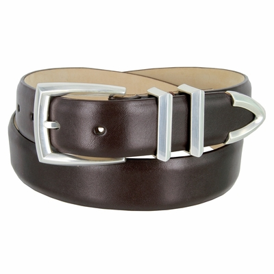 "3219 Men's Genuine Smooth Leather Dress Belt 1-1/4"" (32mm) with Silver Plated Buckle Set - BROWN"