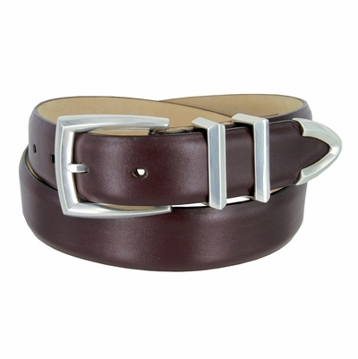 "3219 Men's Genuine Smooth Leather Dress Belt 1-1/4"" (32mm) with Silver Plated Buckle Set - BURGUNDY"