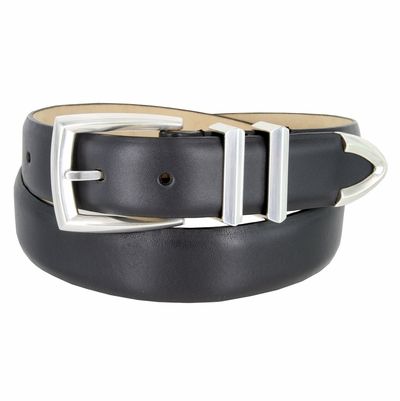 "3219 Men's Genuine Smooth Leather Dress Belt 1-1/4"" (32mm) with Silver Plated Buckle Set - CHARCOAL"