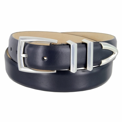 "3219 Men's Genuine Smooth Leather Dress Belt 1-1/4"" (32mm) with Silver Plated Buckle Set - NAVY"