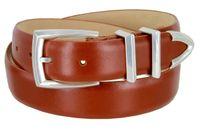 "3219 Men's Genuine Smooth Leather Dress Belt 1-1/4"" (32mm) with Silver Plated Buckle Set - TAN"