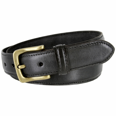 "3233 Adjustable Vintage Style Casual Dress Jeans Genuine Leather Belt 1-3/8"" wide - BLACK"