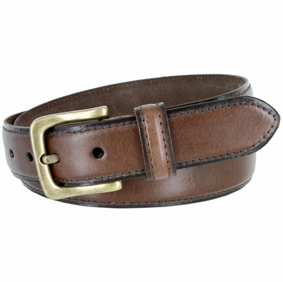 "3233 Adjustable Vintage Style Casual Dress Jeans Genuine Leather Belt 1-3/8"" wide - BROWN"