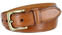 "3233 Adjustable Vintage Style Casual Dress Jeans Genuine Leather Belt 1-3/8"" wide - TAN"